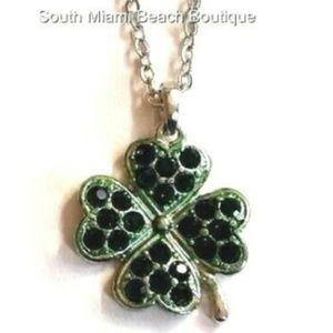 "Silver Irish Green Shamrock Necklace 18"" Crystal"